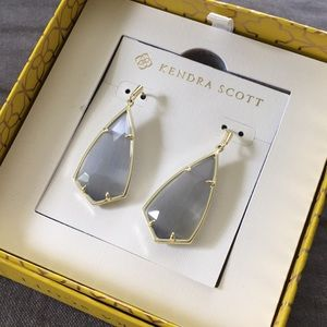 Kendra Scott Drop Earrings - Gold/Slate Cat's Eye